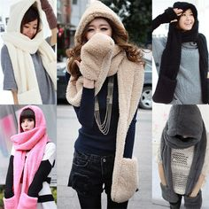11Color Brand New 2015 Winter Fashion Desigual Scarf Women Plush Faux Fur Hooded Hat Pocket Gloves Long Women Scarf Wrap Shawl
