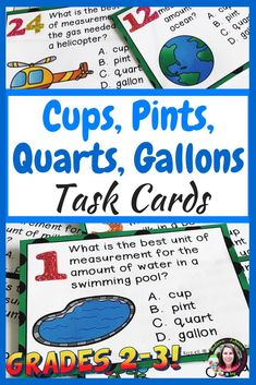 This is a colorful set of 24 task cards where students estimate using cups, pints, quarts, or gallons! This set is a wonderful addition to your lessons! Great way for students to practice correct unit of measurement!  Note: I've added a 4 x 6 cover to use for a storage box cover if you'd like.  I've included a recording sheet and answer key, too! #2ndgrade, #3rdgrade, #1stgrade, #customary, #measurement, #taskcards, #elementary, #mathstations, #earlyfinishers, #SCOOT