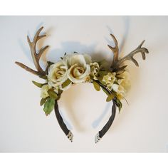 Rites of Spring Deer Antler Floral Hairpiece ($40) ❤ liked on Polyvore featuring accessories, hair accessories, flower hair accessories, flower headband, hair bands accessories, rose hair accessories and head wrap headband