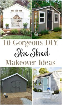 10 gorgeous DIY she shed makeover ideas. These ladies turned a tool shed into a backyard retreat. See these awesome shed makeovers, including office space, backyard entertainment, reading shed and more. Shed Makeover, Backyard Makeover, Backyard Sheds, Backyard Retreat, Garden Sheds, Backyard Office, Backyard Privacy, Garden Fun, Modern Backyard