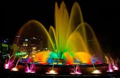 """Montjuïc's Magic Fountain was built for the 1929 International Exhibition in Barcelona. The well-known """"Piromusical"""", the closing event for Barcelona's main festival, La Mercè, is held here. World's Most Beautiful, Beautiful Places, Amazing Places, Monuments, Gaudi, Hotel W, Madrid, Magic Fountain, Barcelona City"""