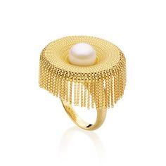 Antonio Bernardo: Dancing Ring. 18k yellow gold and pearl ring.