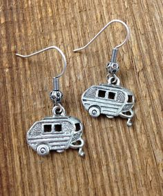"""Simple Camper Earrings. These simple, antiqued silver plated earrings are fun to wear when you're glamping! Lead and nickel free. Made in the USA.  Length: approx. 1 1/2"""""""
