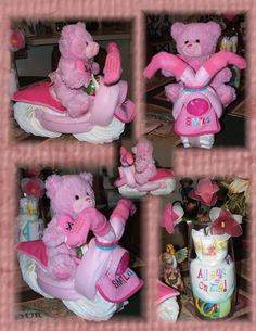 Pink bear riding a diaper motorcycle I made for my soon to be great granddaughter. Last picture is a vase full of all the leftovers from the motorcycle . Pink Motorcycle, Shower Ideas, Craft Projects, Baby Shower, Vase, Bear, Children, Crafts, Babyshower