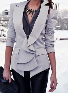 Ruffled blazer for an edgy look