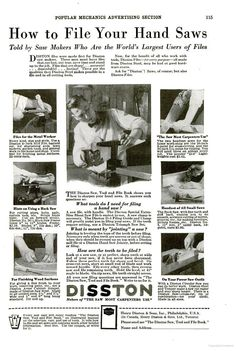 """A vintage Disston (circa, 1929) """"Infomercial"""" on how to hand sharpen hand saw"""