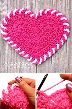 Crochet Simple, Free Crochet, Free Heart Crochet Pattern, Crochet Owls, Modern Crochet, Crochet Animals, Crochet Dishcloths, Crochet Stitches, Knitted Washcloths