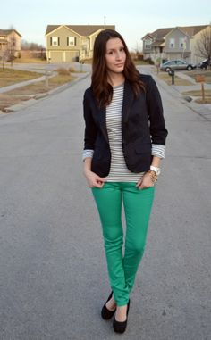 Simply Bold: green jeans and blazer