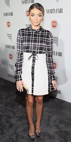Sarah Hyland at the FIAT Young Hollywood Celebration (February 17, 2015), wearing a DSquared2 dress, an Oroton clutch and Nicholas Kirkwood 'Hexagon' Mesh Pumps. #sarahhyland #style