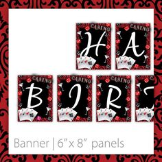 Casino Party Banner . PRINTABLE . Casino Blush . INSTANT Download