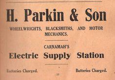 """Wheelwrights, Blacksmiths and Motor Mechanics. Carnamah's Electric Supply Station"" - H. Blacksmithing, Schedule, Electric, Advertising, Blacksmith Shop, Timeline, Blacksmith Forge, Wrought Iron"