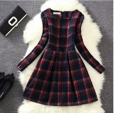 2015 New Europe women Woolen vintage style Plaid Dress ladies korean fashion long sleeved casual bottoming winter dresses