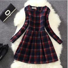 Aliexpress.com: Compre 2015 nova europa mulheres de lã estilo vintage Plaid vestido das senhoras coreano moda de mangas compridas casuais assentamento vestidos de inverno de confiança cadeiras de xadrez fornecedores em all is OK