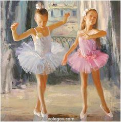 """Ballet Twins"" by Vladimir Volegov, painting, cm, oil on canvas Ballet Art, Ballet Dancers, Ballerina Kunst, Vladimir Volegov, Tutu, Ballerina Painting, Dance Paintings, Little Ballerina, Female Portrait"