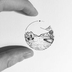 #Drawing #Landscape #Sketch #Circle Tattoo, Design, Art, Illustration - Photo by @eva.svartur - Follow #extremegentleman for more pics like this!