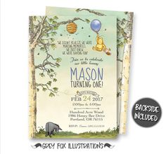 Winnie The Pooh Invitation, Classic Winnie The Pooh Invitations, Winnie The Pooh Birthday Invitations, Personalized, Printables, Digital by GreyFoxIllustrations on Etsy https://www.etsy.com/listing/504921186/winnie-the-pooh-invitation-classic