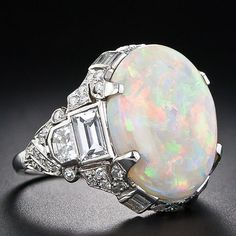 9.5 Carat Opal Art Deco Diamond Ring - circa 1930;  Words can't even begin to describe how much I love this ring! AND Opal is my birthstone.