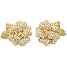 1STDIBS.COM Jewelry & Watches - VanCleef& Arpels - VAN CLEEF & ARPELS Flower Diamond Earrings. - Samuel Saidian and Sons found on Polyvore