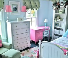 Lovely pink little girls room. Read about the transformation and all the DIY projects that were part of the design.