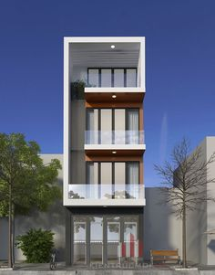 Elegant and minmalist design for narrow front plot Flat House Design, 3 Storey House Design, Minimal House Design, Narrow House Designs, Modern Small House Design, Duplex House Design, House Front Design, Model House Plan, House Plans