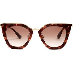 Prada Eyewear Cat-eye acetate sunglasses (2 875 SEK) ❤ liked on Polyvore featuring accessories, eyewear, sunglasses, tortoiseshell, tortoise shell sunglasses, tortoiseshell cat eye sunglasses, brown glasses, tortoiseshell cat eye glasses and tortoiseshell sunglasses