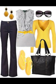 Yellow & gray casual outfit, switch out the flip flops for a yellow heel....