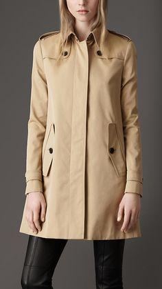 Burberry Cotton Gabardine A-Line Coat