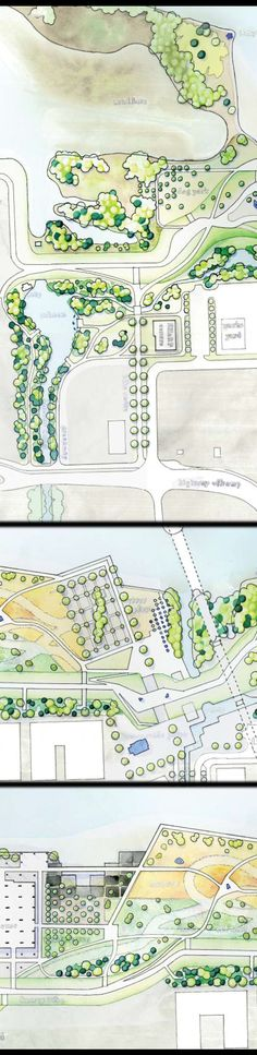 Joelle Sept - Apocalyptic Rewinding for South Westminster. Hand-drawn watercolour Landscape Architecture plan.