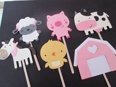 I think I like these better - more of a girlie feel to them - set of 12 girl farm themed cupcake toppers