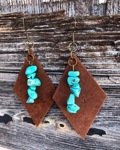 Excited to share this item from my etsy shop Leather Turquoise jewelry earrings turquoise Diy Leather Earrings, Diy Earrings, Diamond Earrings, Silver Earrings, Silver Jewelry, Handmade Leather Jewelry, Leather Jewelry Making, Diamond Brooch, Pandora Jewelry