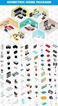 Buy Isometric Home Package by kaleidostudio on GraphicRiver. This pack includes isometric furnitures ans accesories to create bedrooms, bathrooms, living rooms, kitchens and dini. Polo Sul, Polo Norte, Isometric Drawing, Isometric Design, Level Design, Design Visual, Affinity Designer, Concept Diagram, Prop Design