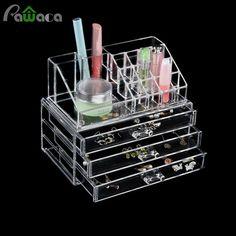 Pawaca Makeup Organizer Storage Box Acrylic Make Up Cosmetic Organizer Holder Container Detachable Drawers Jewelry Box Organizer #Affiliate