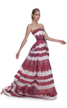 Carolina Herrera Lace Striped Jacquard Strapless Gown at Moda Operandi