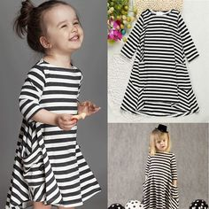e5577d037b3 Toddler Baby Girls Striped Long Sleeve Swing Flared Dress Party Dresses  Clothes
