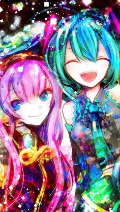 Vocaloid Hatsune Miku and Megurine Luka