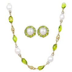 Peridot South Sea Pearl Diamond Gold Necklace and Earrings 1