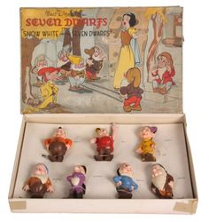 Seven Dwarfs Figural Toy Set In Original Box. By Seiberling Latex Products Co, circa 7 painted latex toy figure. on Mar 2014 Old Disney, Vintage Disney, Snow White Characters, Seven Dwarfs, Walt Disney Studios, Miniture Things, Vintage Toys, Toy Chest, Mickey Mouse