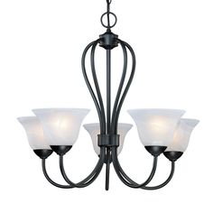 Millennium Lighting Main Street 25.5-in 5-Light Matte Black Alabaster Glass Shaded Chandelier