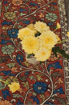"Cressida Campbell - ""Yellow Chrysanthemums with Indian silk"""