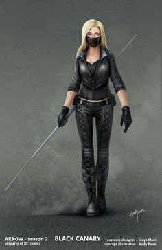 "Concept art for Black Canary in season 2 outfit from ""Arrow"" (2013) by Andy Poon."