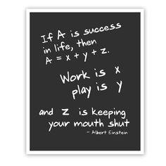 Albert Einstein Quote Math Art Print Wall door JaneAndCompanyDesign