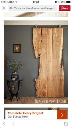 Natural wood sliding door