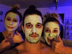 """When your friends cancel and you end up at """"girls night"""" #facemasks #highbuns @BCJean @taydean77"""