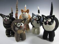 Felt Cats, group shot @Jodi Porter (Would like to make one to look like Max and one to look like Penny!)