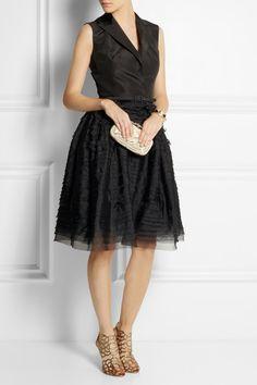 OSCAR DE LA RENTA Silk-faille and organza tuxedo dress