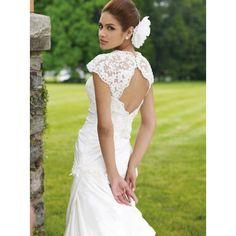 Mermaid Trumpet Cap Sleeves Taffeta Lace Wedding Dress - Vintage Bridal Apparel