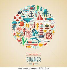 Summer concept. Flat icons in circle. Vector illustration. Marine symbols. Sea leisure sport.