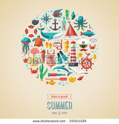 Summer concept. Flat icons in circle. Vector illustration. Marine symbols. Sea leisure sport.
