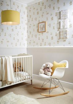Bear Hugs - These beautifully considered and cuddly teddy bear wallcoverings are available in neutral and soft colourways. With a framed print and set of 3 canvas, this design will fit any nursery.