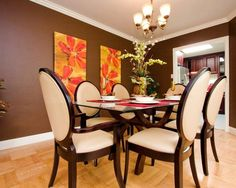 Dark Brown Walls Design, Pictures, Remodel, Decor and Ideas - page 2 Floor Colors, House Colors, Wall Colors, Paint Colors, Dining Room Walls, Dining Room Furniture, Dark Brown Walls, Trendy Colors, Upholstered Chairs